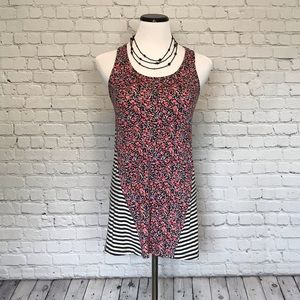 Floral and Striped Racerback Tank